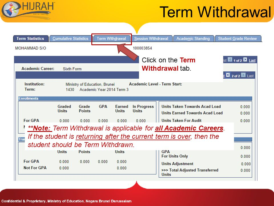 Term Withdrawal Click on the Term Withdrawal tab.