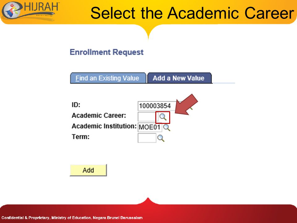 Select the Academic Career