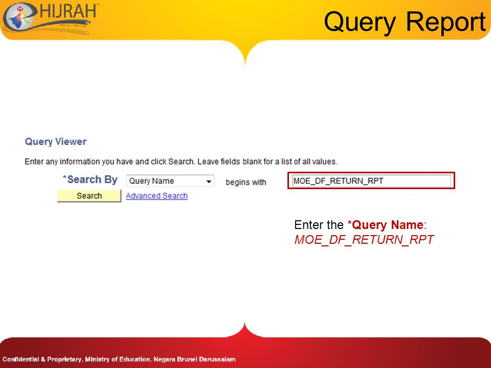 Query Report Enter the *Query Name: MOE_DF_RETURN_RPT