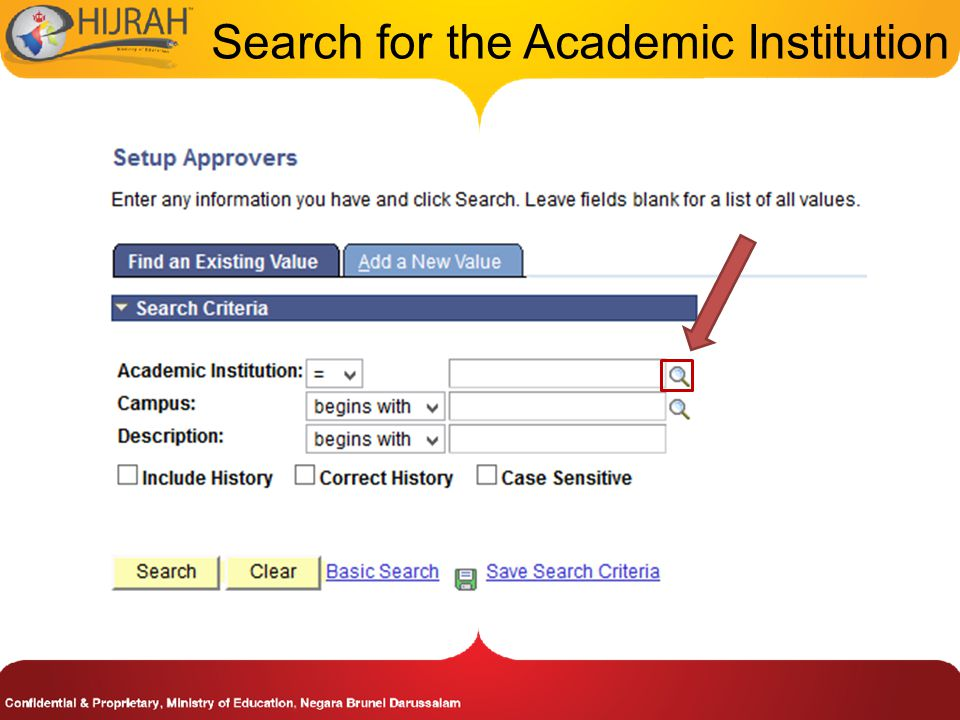 Search for the Academic Institution