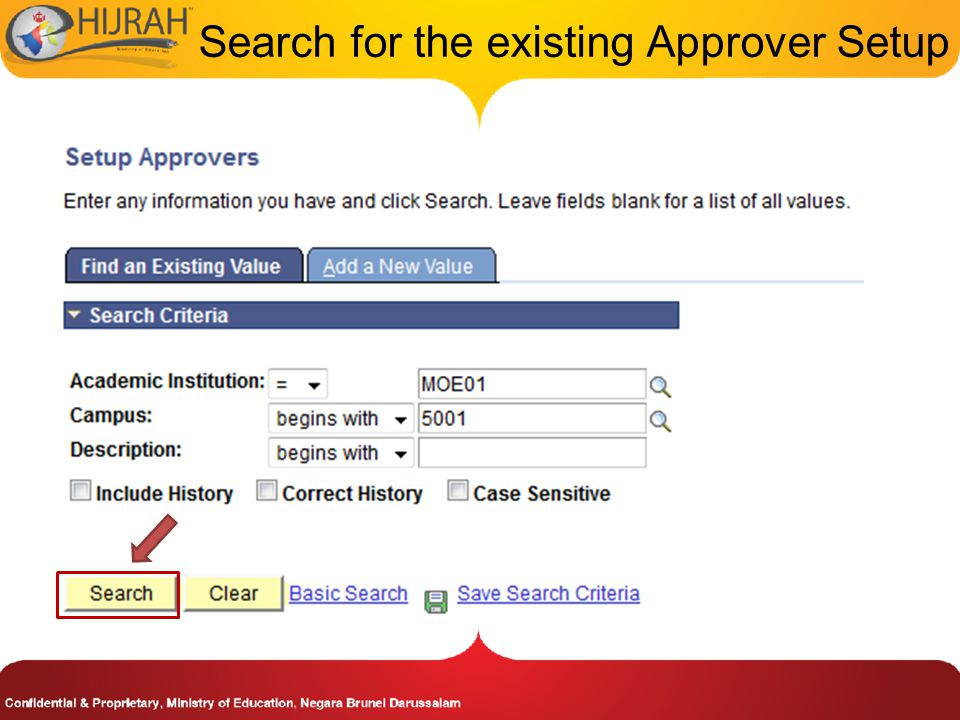 Search for the existing Approver Setup