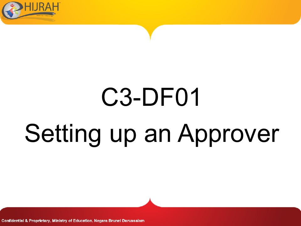 C3-DF01 Setting up an Approver