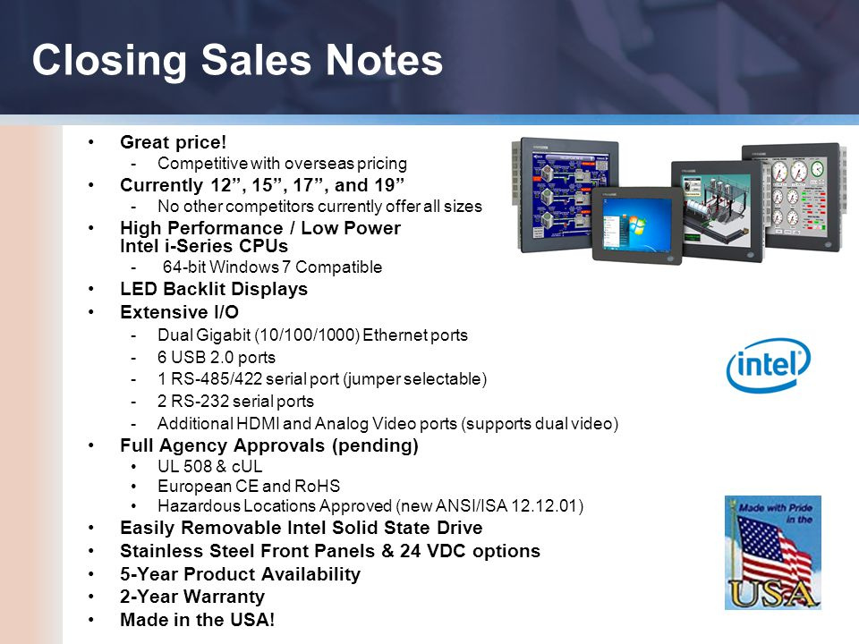 Closing Sales Notes Great price.