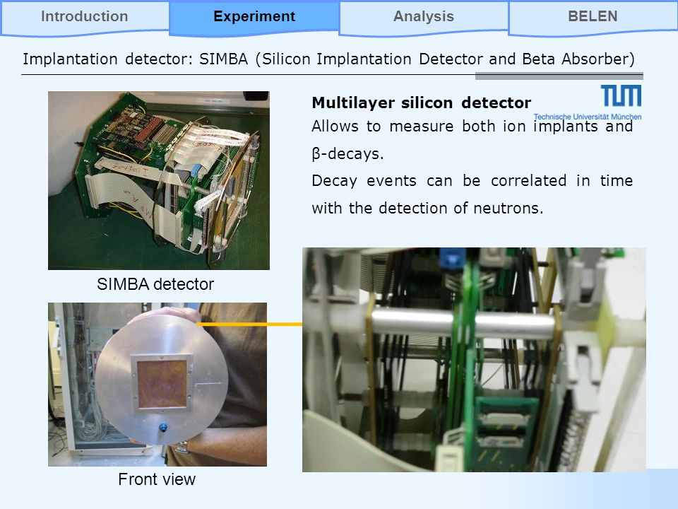 Implantation detector: SIMBA (Silicon Implantation Detector and Beta Absorber) SIMBA detector Multilayer silicon detector Allows to measure both ion implants and β-decays.