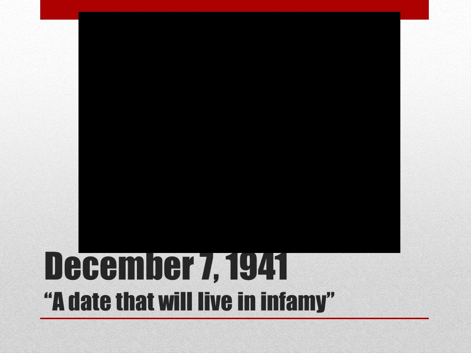 December 7, 1941 A date that will live in infamy