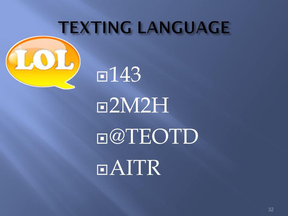 143  2M2H  @TEOTD  AITR 32