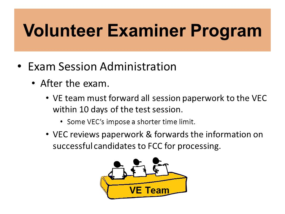 Volunteer Examiner Program Exam Session Administration After the exam. VE team must forward all session paperwork to the VEC within 10 days of the tes