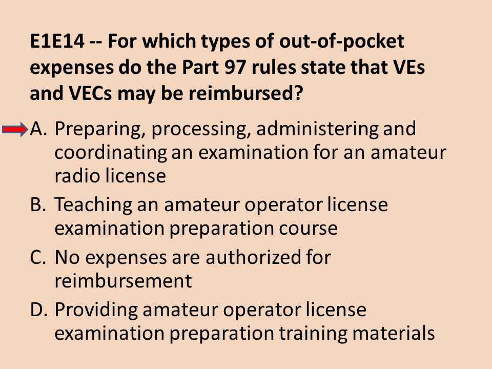 E1E14 -- For which types of out-of-pocket expenses do the Part 97 rules state that VEs and VECs may be reimbursed? A.Preparing, processing, administer