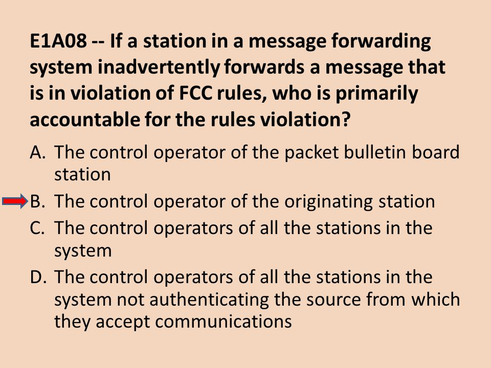 E1A08 -- If a station in a message forwarding system inadvertently forwards a message that is in violation of FCC rules, who is primarily accountable