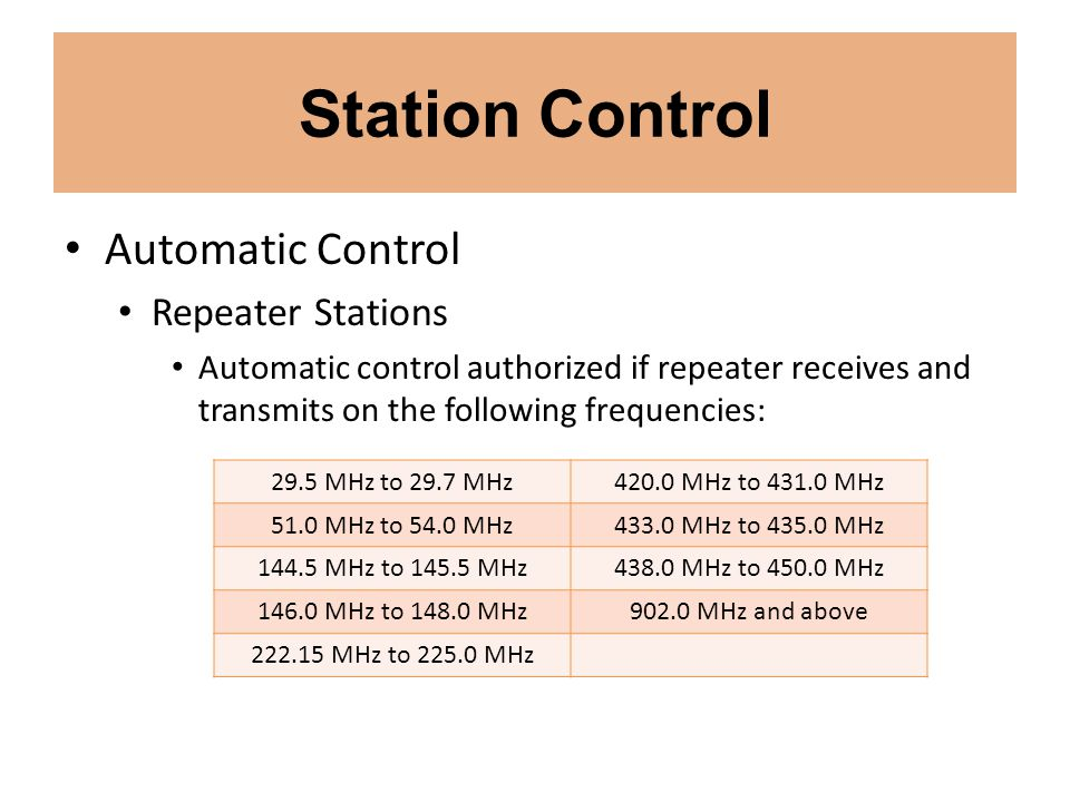 Station Control Automatic Control Repeater Stations Automatic control authorized if repeater receives and transmits on the following frequencies: 29.5