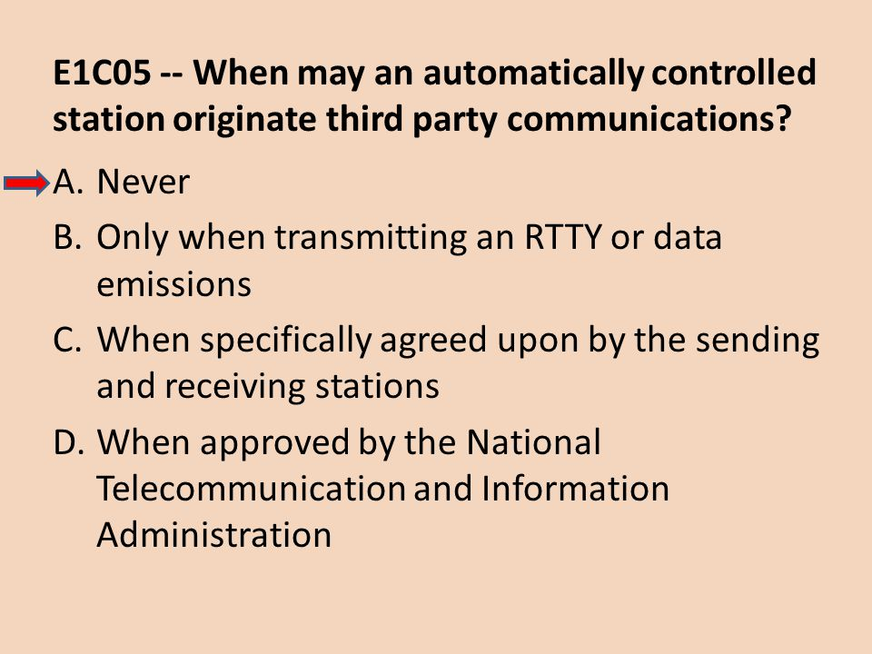 E1C05 -- When may an automatically controlled station originate third party communications? A.Never B.Only when transmitting an RTTY or data emissions