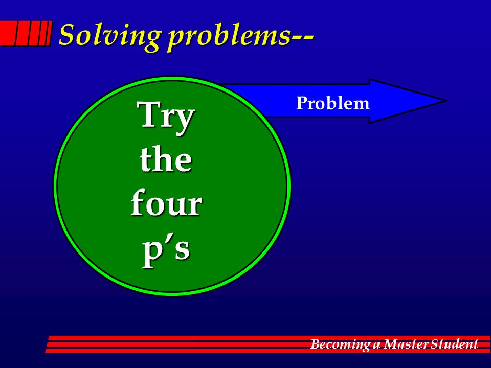 Becoming a Master Student Solving problems-- Try the the four fourp's Problem
