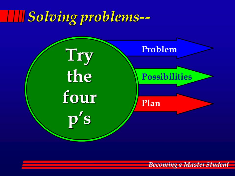 Becoming a Master Student Solving problems-- Try the the four fourp's Problem Possibilities Plan