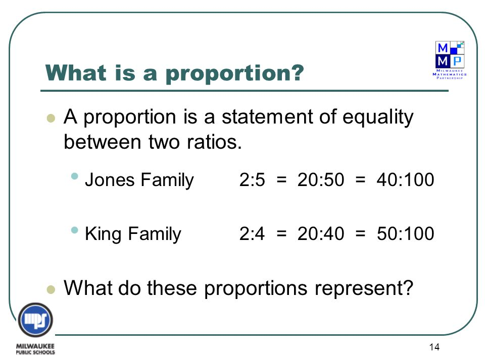 14 What is a proportion? A proportion is a statement of equality between two ratios. Jones Family2:5 = 20:50 = 40:100 King Family2:4 = 20:40 = 50:100