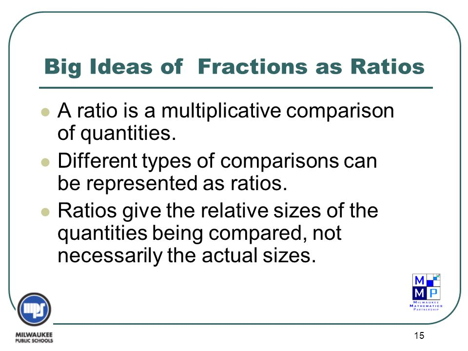 15 Big Ideas of Fractions as Ratios A ratio is a multiplicative comparison of quantities. Different types of comparisons can be represented as ratios.