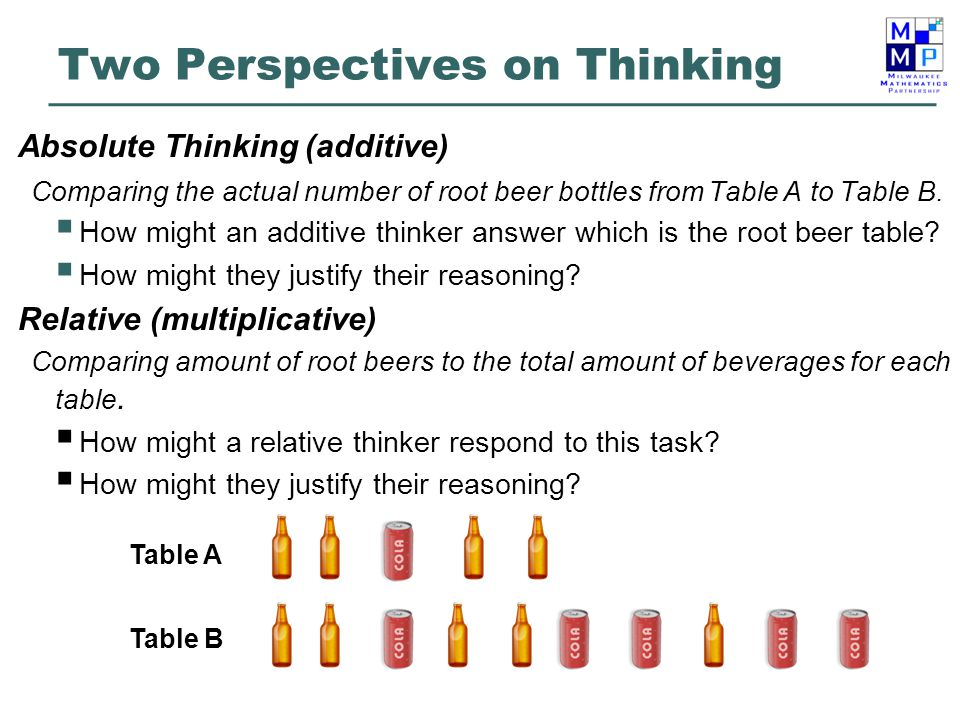 Two Perspectives on Thinking Absolute Thinking (additive) Comparing the actual number of root beer bottles from Table A to Table B.  How might an add