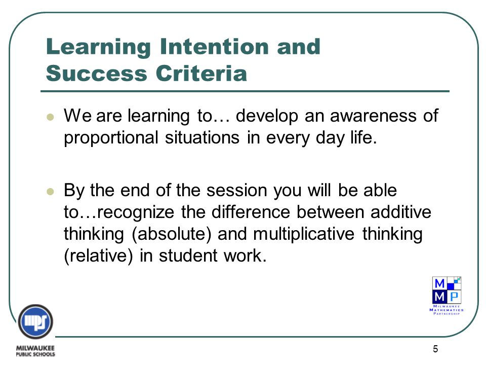5 Learning Intention and Success Criteria We are learning to… develop an awareness of proportional situations in every day life. By the end of the ses