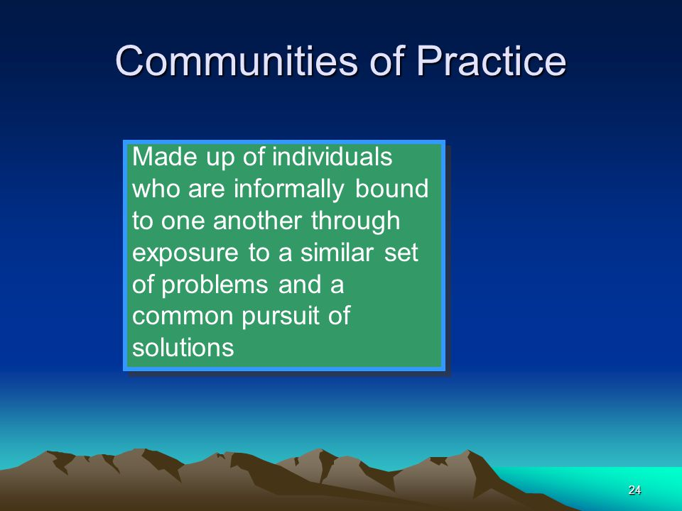 24 Communities of Practice Made up of individuals who are informally bound to one another through exposure to a similar set of problems and a common p