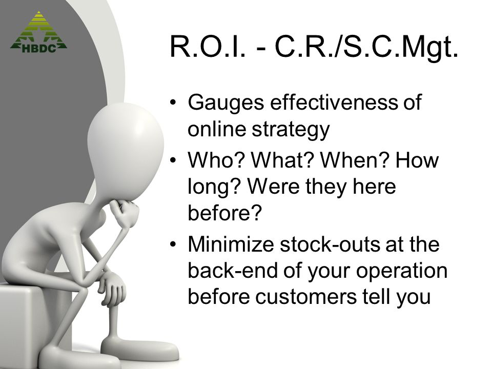 R.O.I. - C.R./S.C.Mgt. Gauges effectiveness of online strategy Who.