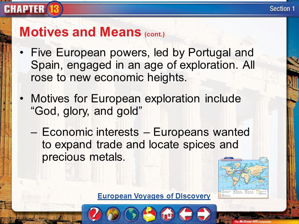 Section 1 Five European powers, led by Portugal and Spain, engaged in an age of exploration. All rose to new economic heights. Motives for European ex