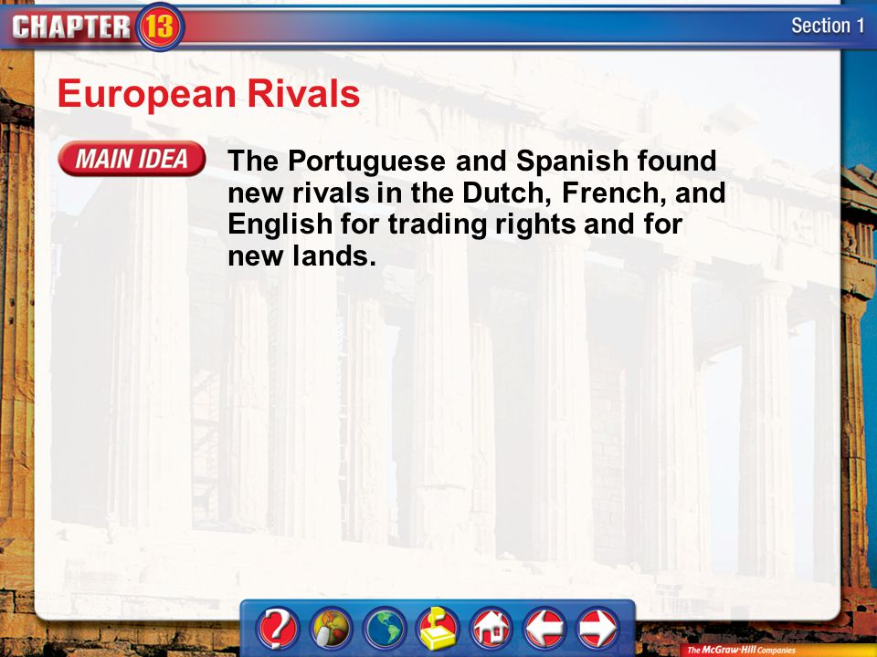 Section 1 European Rivals The Portuguese and Spanish found new rivals in the Dutch, French, and English for trading rights and for new lands.