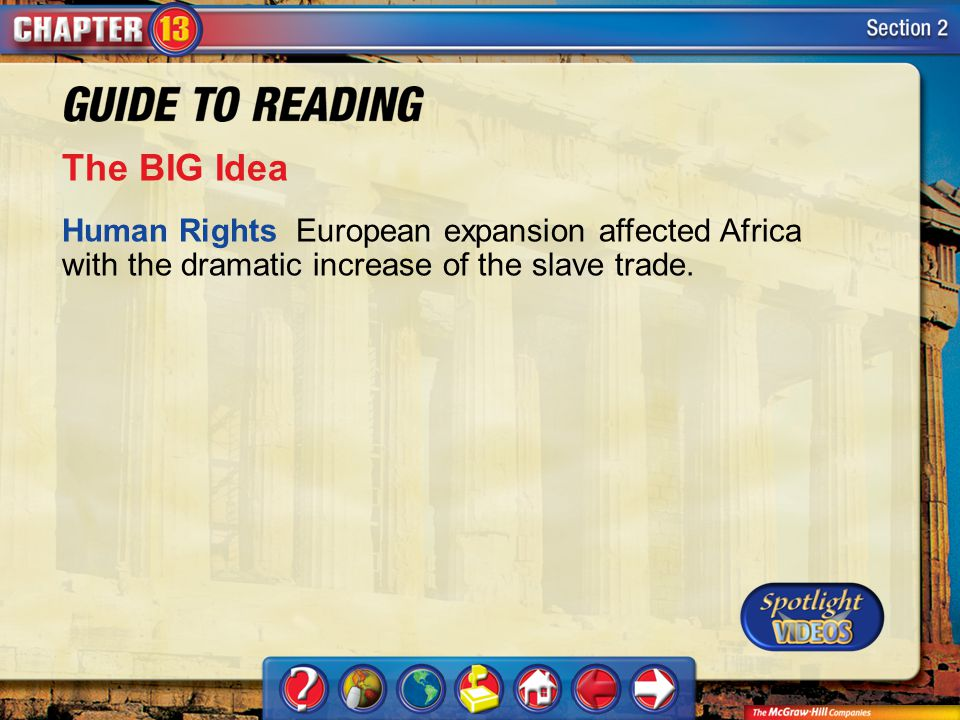 Section 2-Main Idea The BIG Idea Human Rights European expansion affected Africa with the dramatic increase of the slave trade.