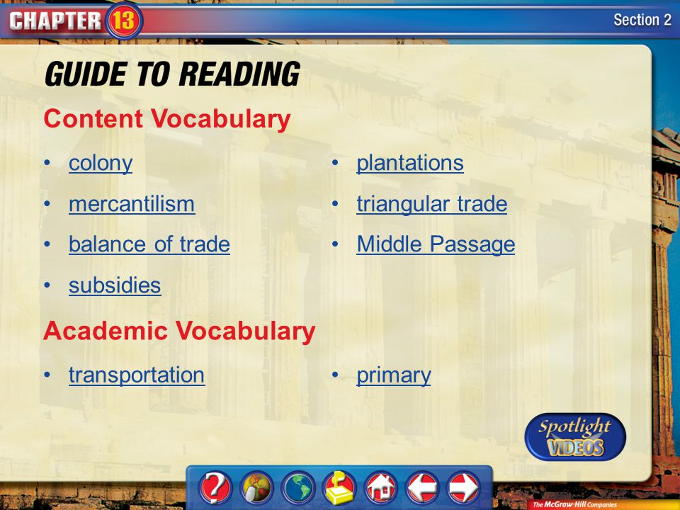 Section 2-Key Terms Content Vocabulary colony mercantilism balance of trade subsidies plantations triangular trade Middle Passage Academic Vocabulary