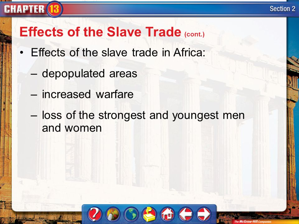Section 2 Effects of the slave trade in Africa: –depopulated areas –increased warfare –loss of the strongest and youngest men and women Effects of the