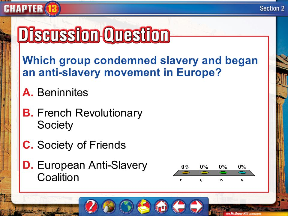 A.A B.B C.C D.D Section 2 Which group condemned slavery and began an anti-slavery movement in Europe? A.Beninnites B.French Revolutionary Society C.So