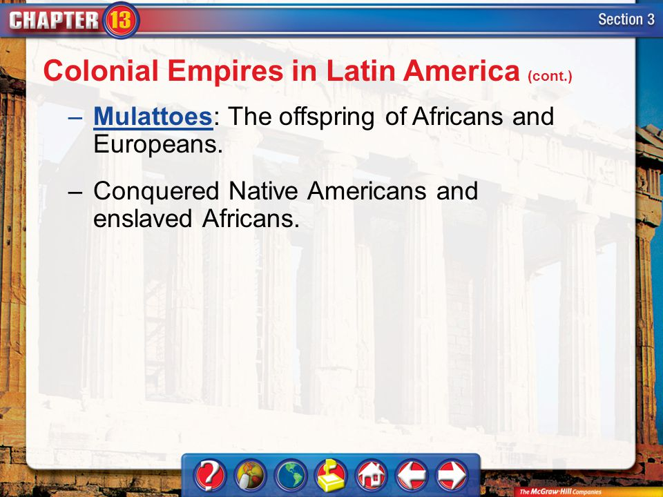Section 3 –Mulattoes: The offspring of Africans and Europeans.Mulattoes –Conquered Native Americans and enslaved Africans. Colonial Empires in Latin A
