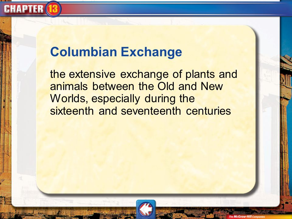Vocab3 Columbian Exchange the extensive exchange of plants and animals between the Old and New Worlds, especially during the sixteenth and seventeenth
