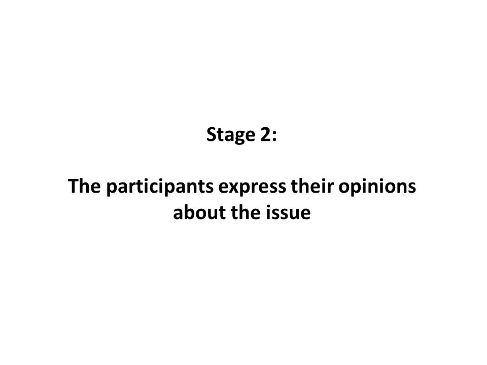 Stage 2: The participants express their opinions about the issue
