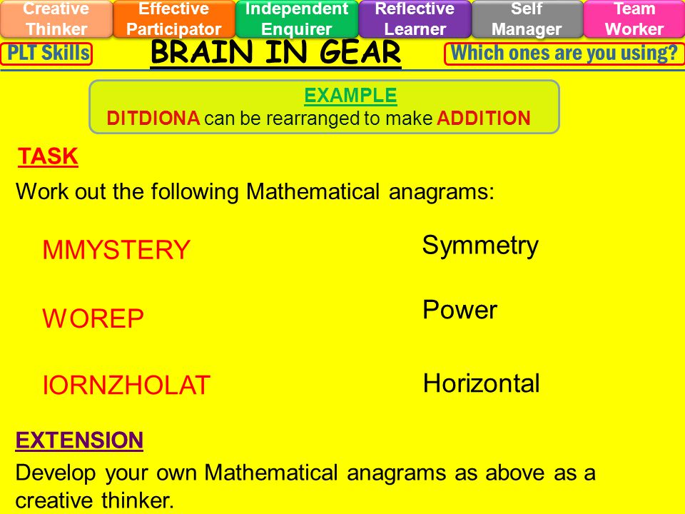 BRAIN IN GEAR Effective Participator Self Manager Independent Enquirer Creative Thinker Team Worker Reflective Learner Which ones are you using PLT Skills Work out the following Mathematical anagrams: TASK EXTENSION Develop your own Mathematical anagrams as above as a creative thinker.