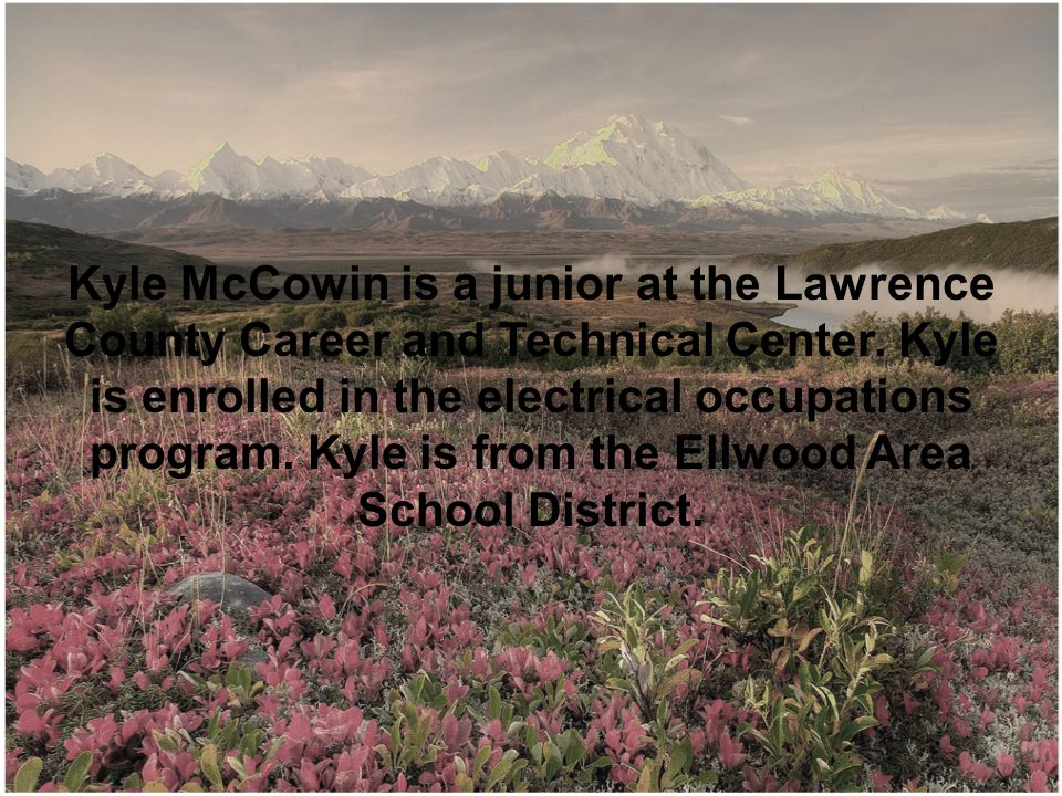 Kyle McCowin is a junior at the Lawrence County Career and Technical Center.