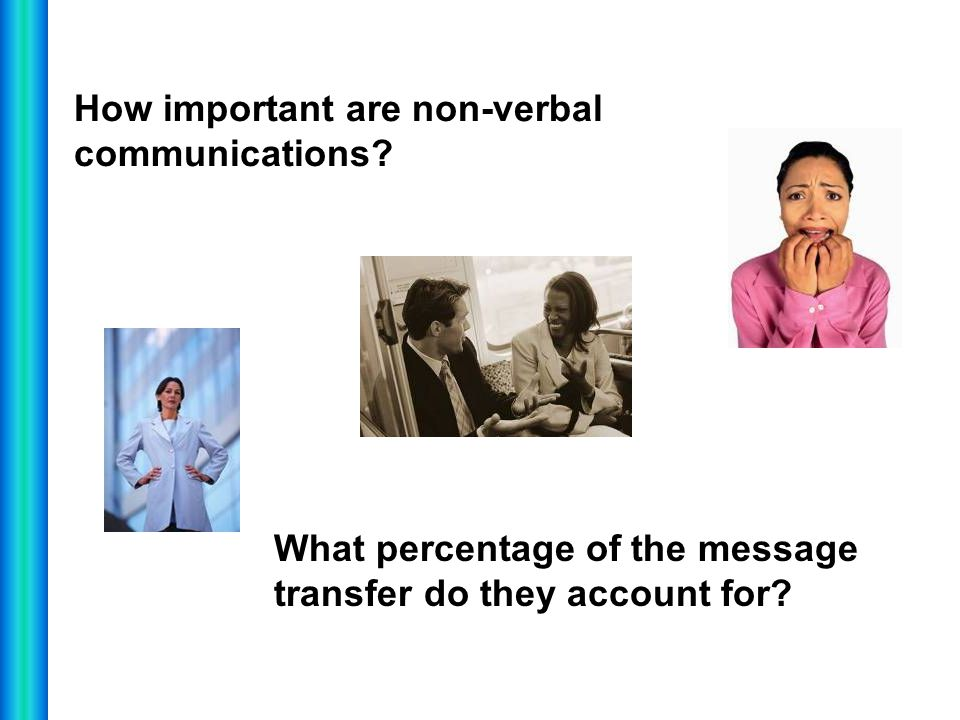 How important are non-verbal communications? What percentage of the message transfer do they account for?