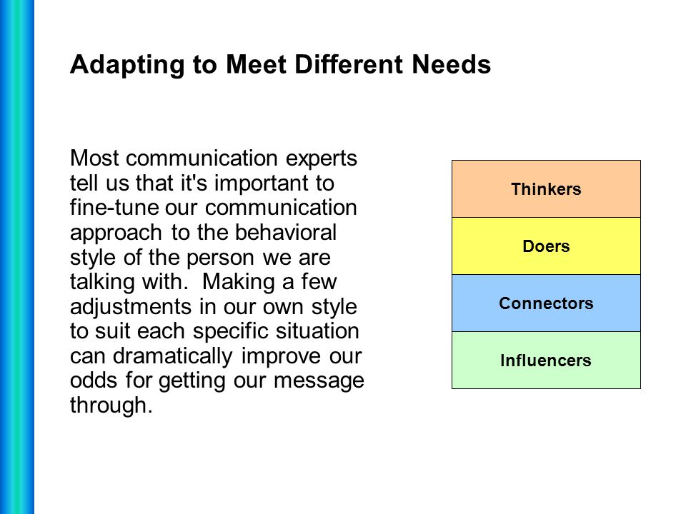 Adapting to Meet Different Needs Most communication experts tell us that it's important to fine-tune our communication approach to the behavioral styl