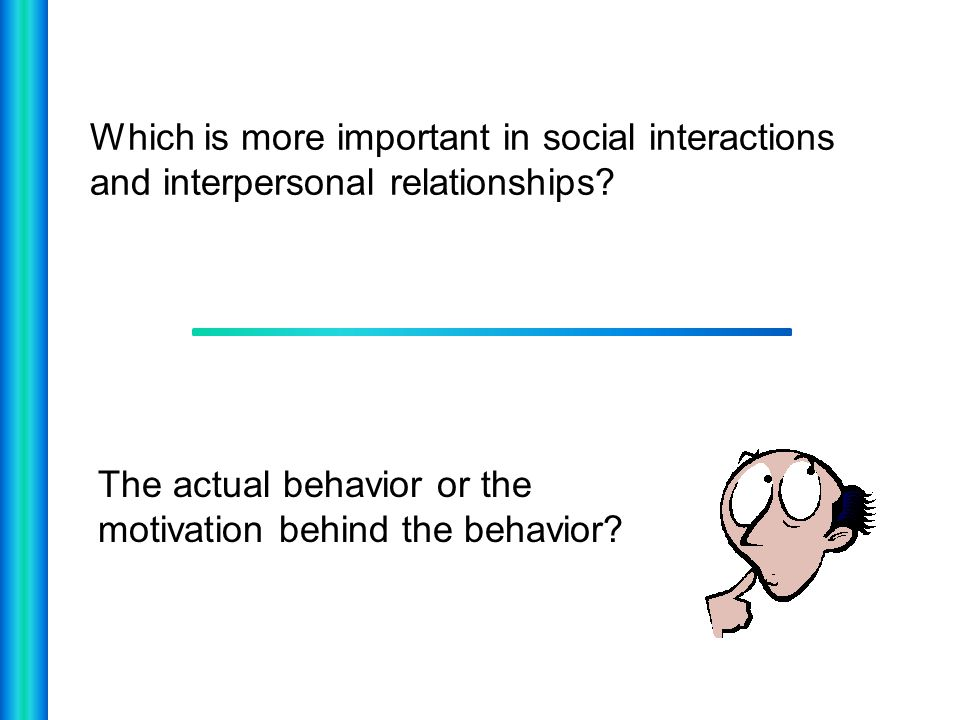 Which is more important in social interactions and interpersonal relationships? The actual behavior or the motivation behind the behavior?