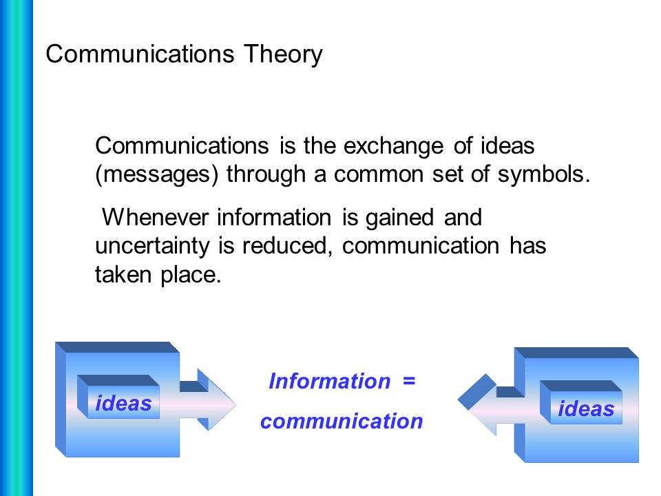 Communications Theory Communications is the exchange of ideas (messages) through a common set of symbols. Whenever information is gained and uncertain