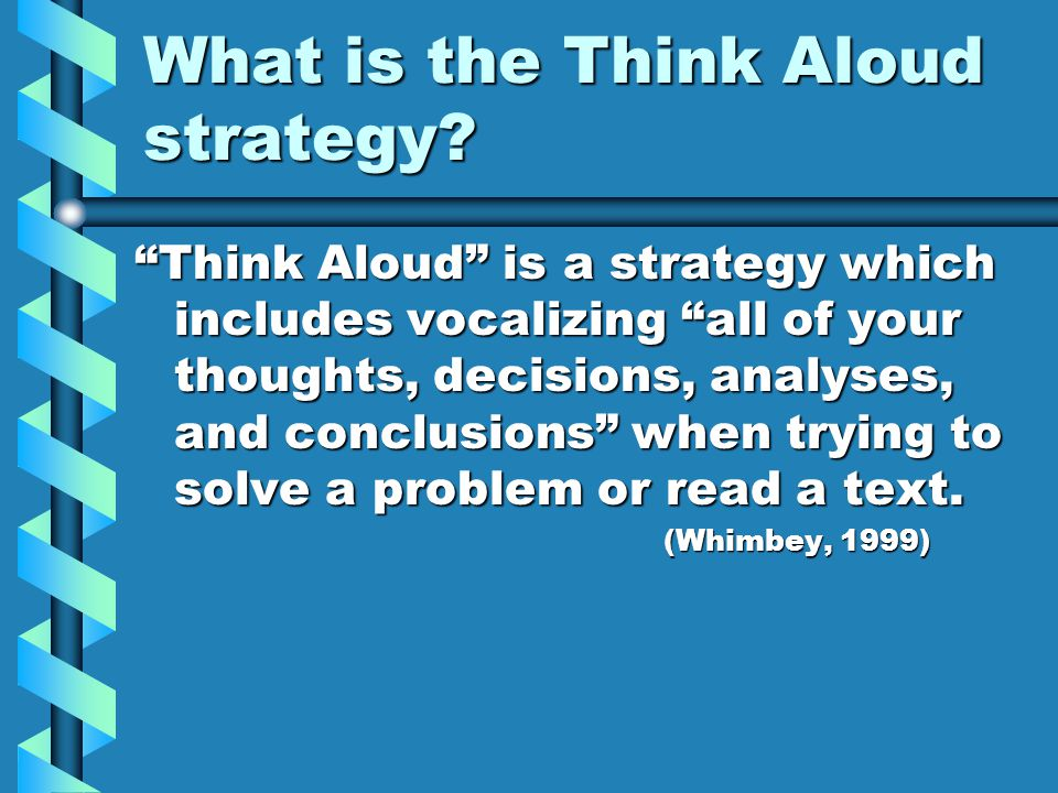 What is the Think Aloud strategy.
