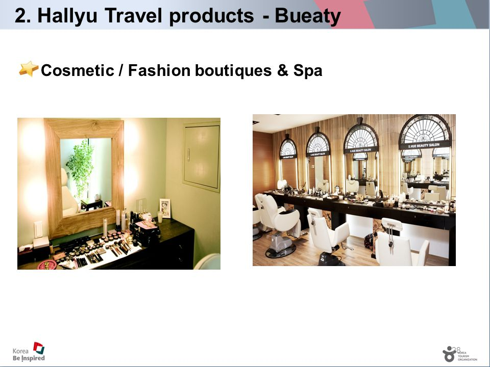 28 Cosmetic / Fashion boutiques & Spa 2. Hallyu Travel products - Bueaty