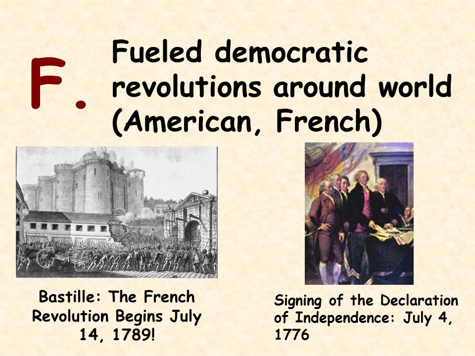 Fueled democratic revolutions around world (American, French) F.
