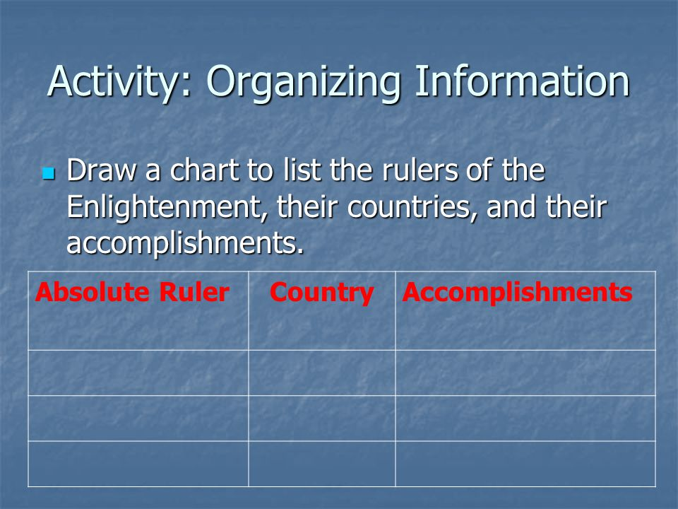 Activity: Organizing Information Draw a chart to list the rulers of the Enlightenment, their countries, and their accomplishments.