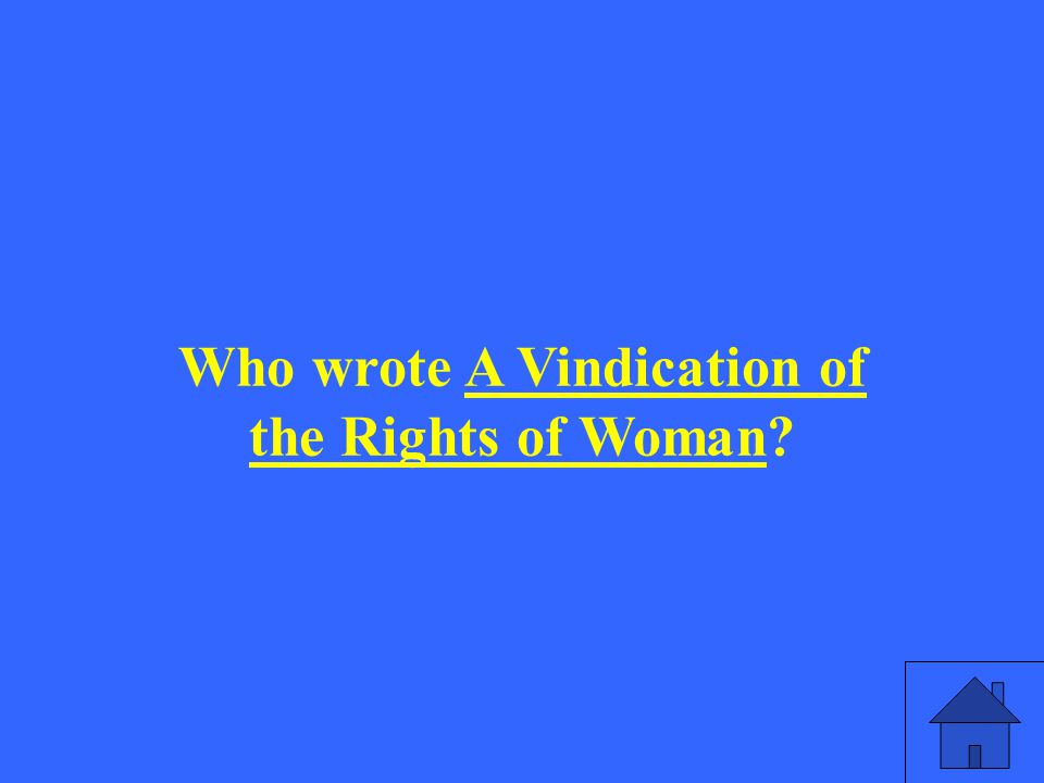 Who wrote A Vindication of the Rights of Woman