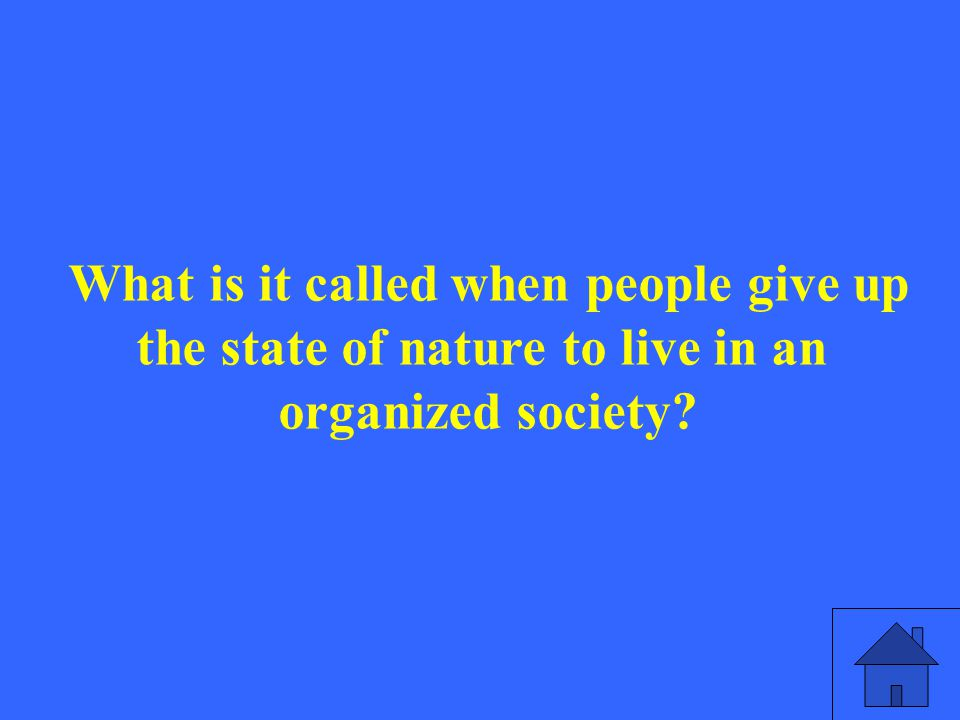 What is it called when people give up the state of nature to live in an organized society