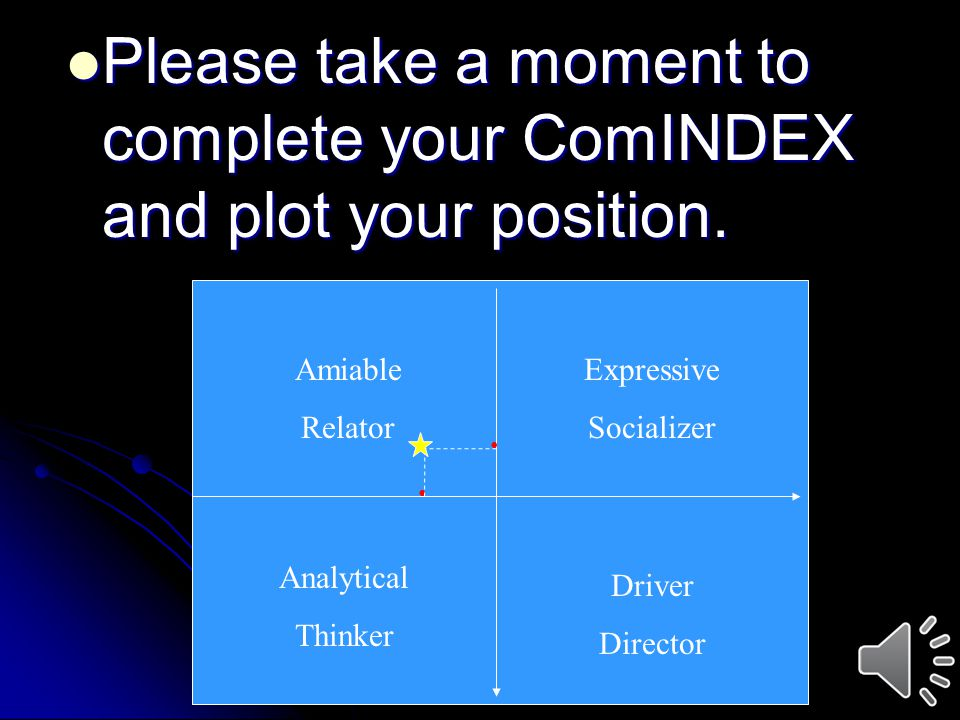 Please take a moment to complete your ComINDEX and plot your position. Please take a moment to complete your ComINDEX and plot your position. Amiable