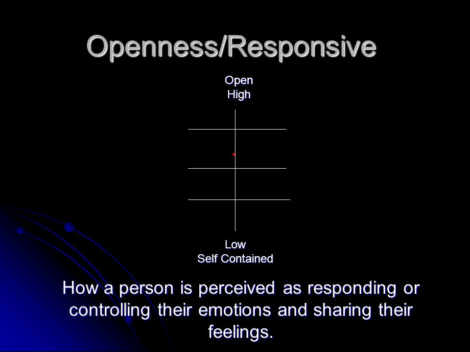 Openness/Responsive OpenHigh Low Self Contained How a person is perceived as responding or controlling their emotions and sharing their feelings.