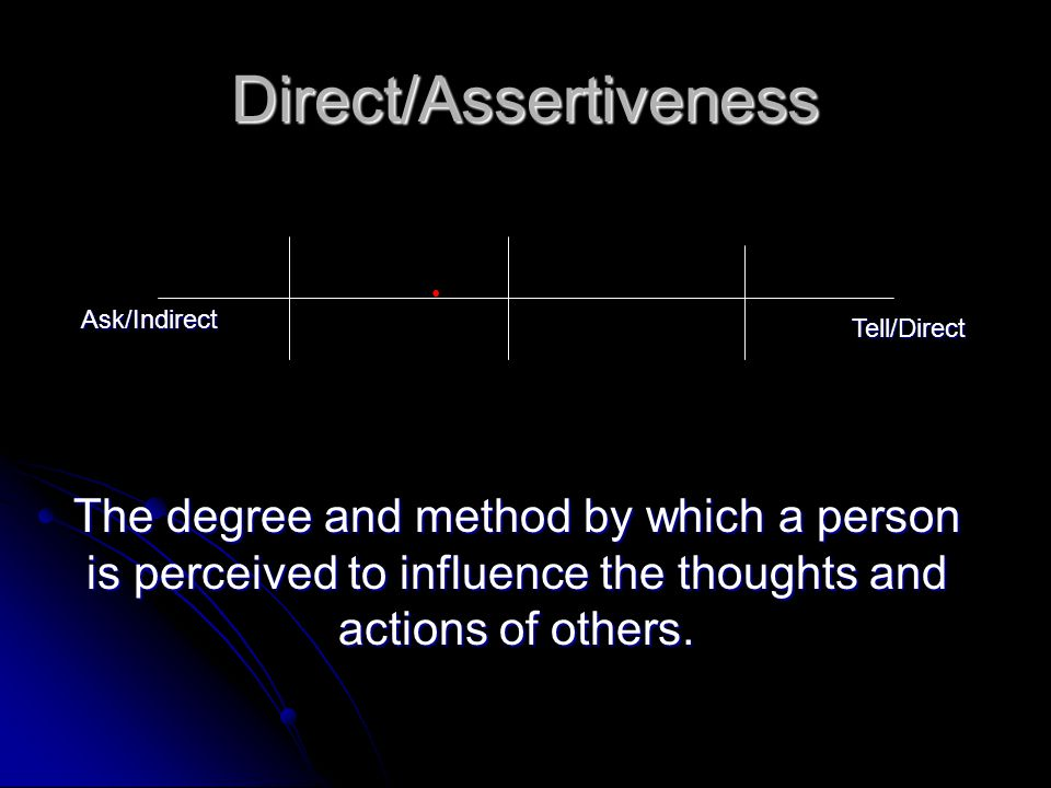 Direct/Assertiveness Ask/Indirect Tell/Direct The degree and method by which a person is perceived to influence the thoughts and actions of others.