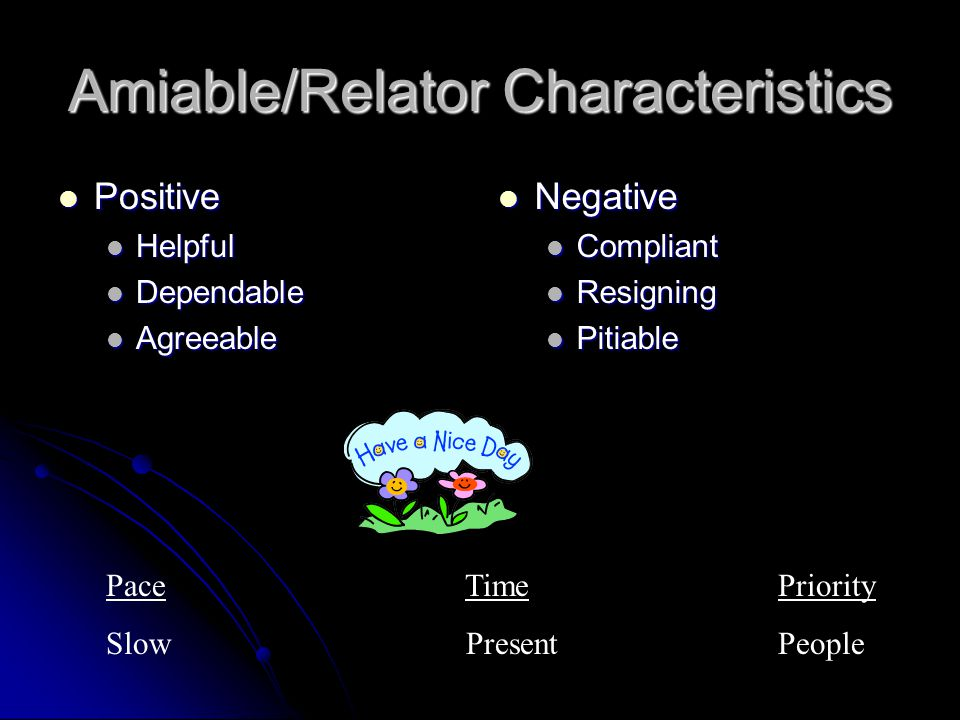 Amiable/Relator Characteristics Positive Positive Helpful Helpful Dependable Dependable Agreeable Agreeable Negative Negative Compliant Resigning Pitiable Pace TimePriority Slow PresentPeople