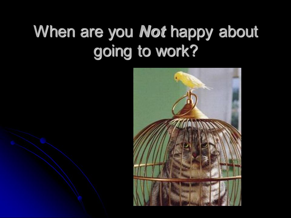 When are you Not happy about going to work?