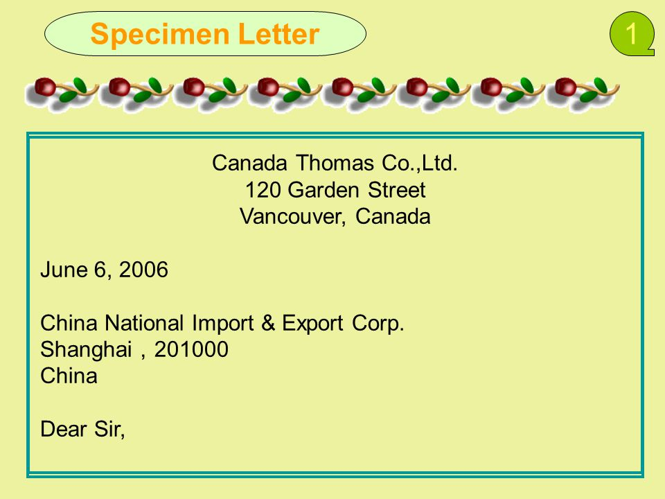 Specimen Letter1 Canada Thomas Co.,Ltd.